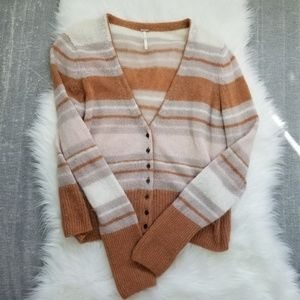 Free People - Alpaca Striped button up cardigan